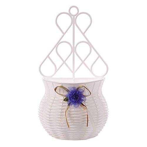 mk. park - Plastic Wall Hanging Flower Basket Container Decoration Artificial Rattan Vase (Purple)