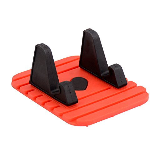 LoveQmall Phone Tablet Stand Car Mount Holder Rubber Anti-Slip Mat Support for Universal Smartphone 120 Degree Mobile Phone Bracket Red and Black