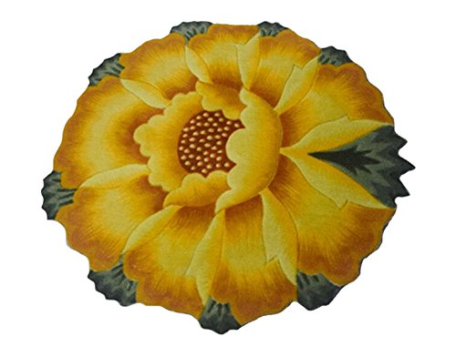 M&G House Sunflower Round Rug Mats Computer Chair Mat - Yellow Flowers Design Bedroom Washable Antiskid Carpet/Area Rug 35.5 X 35.5 inch