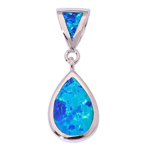 Pretty Blue Fire Opal Silver Party Women Jewelry Gemstone Pendant 7/8 ()