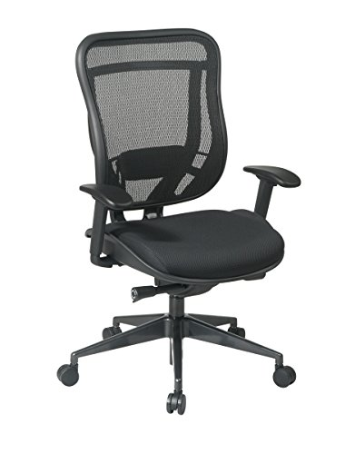 SPACE Seating Breathable Mesh High Back and Padded Seat, Ultra 2-to-1 Synchro Tilt Control, Seat Slider and Gunmetal Finish Executive - Soft Star Office Wheel