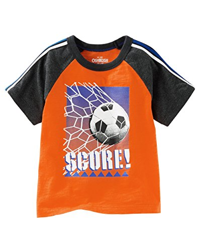 OshKosh Boy's Short Sleeve Raglan Active Tee Soccer Graphic:Orange (9M) Baby Screen Ringer Tee