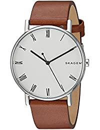 Men's 'Signatur' Quartz Stainless Steel and Leather Casual Watch, Color Brown (Model: SKW6427)