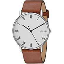 Skagen Men's 'Signatur' Quartz Stainless Steel and Leather Casual Watch, Color:Brown (Model: SKW6427)