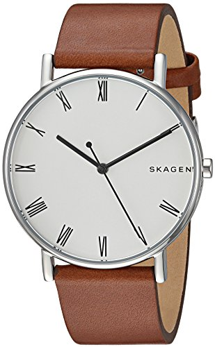 Skagen Men's 'Signatur' Quartz Stainless Steel and Leather Casual Watch, Color:Brown (Model: SKW6427) by Skagen
