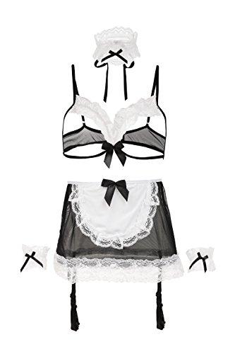 Femme da Intimo notte Dress Sleepwear Black Lingerie Outfit Disguise Amoretu Soubrette OxRqAwz7