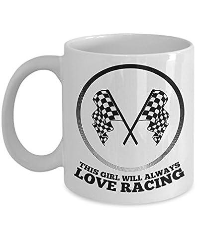 Funny Mug - This girls loves racing - race car gifts for men - car race novelty - racing mug - racing coffee - Tyco Corvette