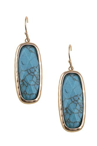 Trendy Fashion Jewelry FACETED FRAMED NATURAL STONE DANGLE EARRING By Fashion Destination | (Turquoise)