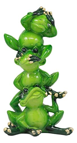 Hear No Evil Frogs - Ebros Glossy Green Whimsical Acrobatic See Hear and Speak No Evil Frogs Totem Statue 5.75