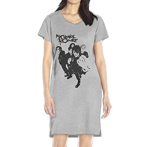 Price comparison product image AIJFW My Chemical Romance Family Women's V-neck Shirt Dress Ash L