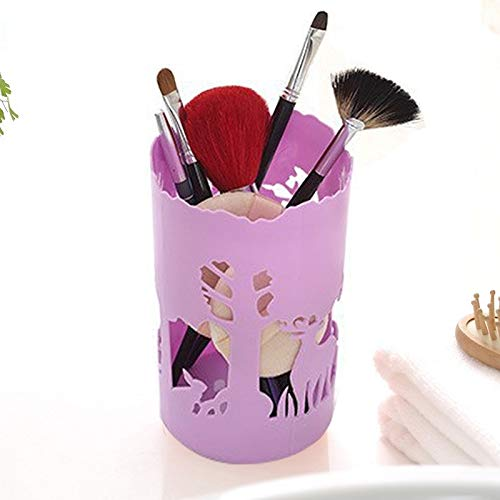 Dig dog bone Originative Life Forest Fawn Hollow Pattern Moldable Desktop Ornament Storage Bucket (Color : Purple)