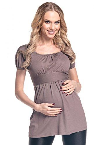 Happy Mama Mujeres Maternidad estiramiento manga corta túnica Top 408p Cappuccino