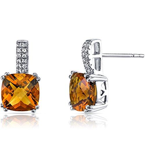 14K White Gold Citrine Earrings Cushion Checkerboard Cut 4.00 Carats