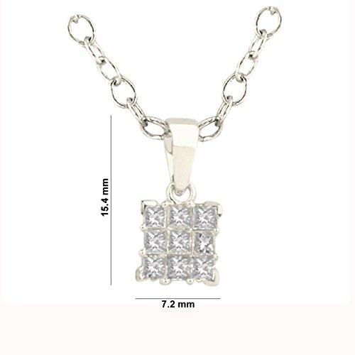 Libertini pendentif argent 925 femme serti de Diamant en forme de Carrés