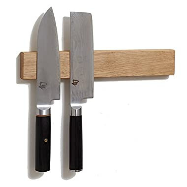 M.O.C. Woodworks White Oak 12 Inch Wood Magnetic Knife Holder or Magnetic Knife Strip, Solid White Oak, Made in USA.
