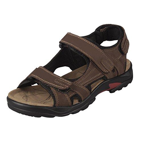 TOOGOO(R) sandale homme Cuir sandales hommes taille 46 marron cuir Chaussures
