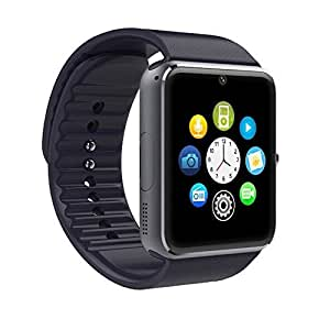 Lincass Gt08 1.54 Inch Hd TFT Bluetooth Phone Smart Watch Wrist Phone with NFC Cell Phone Watch Phone Mate for Android (Full Functions) Samsung S3/s4/s5/note 2/note 3/note 4 HTC Sony Lg and Iphone 5/5c/5s/6/6 Plus (Black)