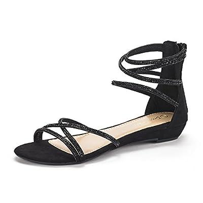 DREAM PAIRS Women's Ankle Strap Rhinestones Low Wedge Sandals