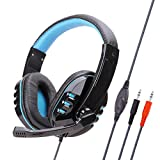 Gaming Headset Stereo with Mic Noise Cancelling Headphones Bass Surround - 3.5Mm Wired - Soft Memory Earmuffs for Ps4 Xbox One Mobile - Blue