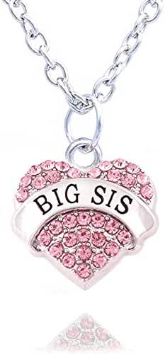 Family Jewelry Silver Alloy Pink Crystal Love Heart Big Sister Charm Pendant Necklace Women Girl Gift