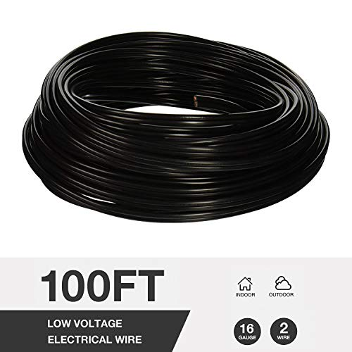 GOODSMANN 100-Feet Wire Low Voltage Outdoor Landscape Lighting Cable, Underground Direct Burial Landscape Lighting Cable with Copper Core, PVC Jacket Work with Malibu Products (16-Gauge)