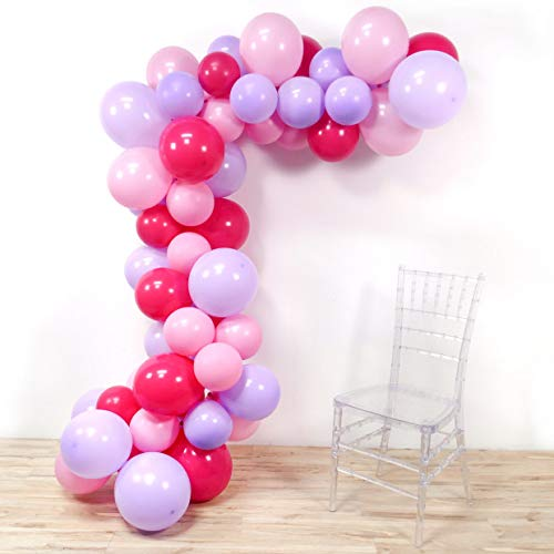 PartyWoo Pink Purple Balloons, 100 Pcs 12 Inch Light Pink Balloons Light Purple Balloons Fuschia Balloons, Princess Party Supplies for Princess Birthday Party, Baby Shower Pink, Baby Shower Purple]()