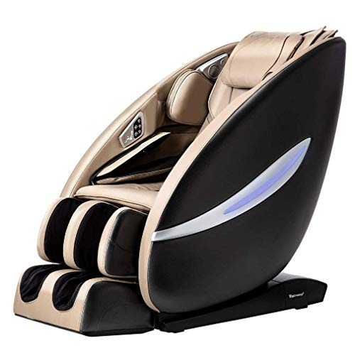 BestMassage Shiatsu Chair Full Body and Recliner Zero Gravity Electric with Built-in Heat Therapy Airbag Massage System Foot Roller Vibrating SL-Track Stretch HiFi Speaker for Office Home,Beige