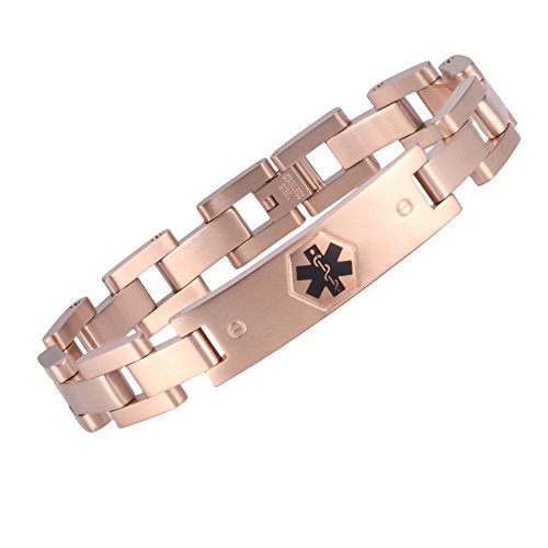 The military style medical id bracelet jewelry for men and women(ROSE GOLD)(6.5) Gold Medical Id Jewelry
