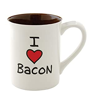 "Our Name is Mud ""I Heart Bacon"" Stoneware Mug, 16 oz."