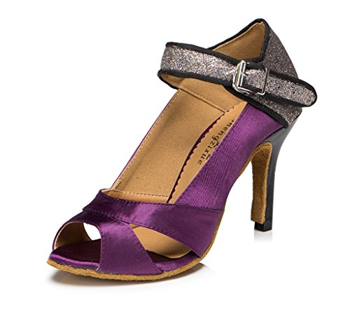 Womens Wedding Peep Party Dance Salsa CRC Stylish Material Satin Morden Ballroom Purple Glitter Sandals Latin Tango Toe Professional dWxOpn