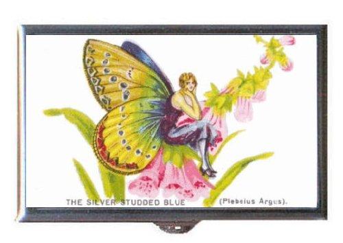 1920s Flapper Girl Butterfly Silver Studded Blue Art Guitar Pick or Pill Box USA Made (Flapper Girls 1920)