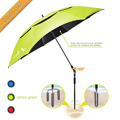 BESROY Portable Large Beach Umbrella - Outdoor Sunshade with Telescoping Pole, Windproof Stakes & Carry Bag - UV Protection, 360° Rotating, for Beaches, Patio, Pools, Terraces, Parks (Lemon Green)