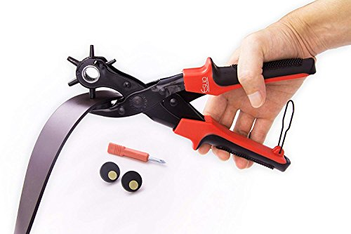 Leather Hole Punch Set for Belts, Watch Bands, Straps, Dog Collars, Saddles, Shoes, Fabric, DIY Home or Craft Projects. Super Heavy Duty Rotary Puncher, Eyelet Pliers, Multi Hole Sizes Maker Tool by Esup (Image #1)