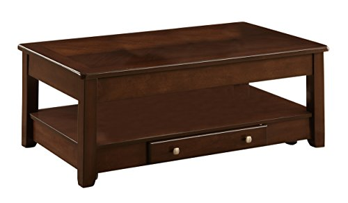 Homelegance Ballwin Lift-Top Coffee Table with Drawer, Cherry