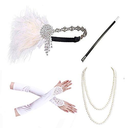 1920s accessories Headband Necklace Gloves Cigarette Holder Flapper Costume accessories Set For Women - Accessories B