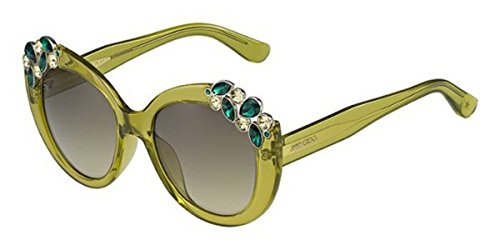 Jimmy Choo - MEGAN/S, Round, acetate, women, TRANSPARENT GREEN SILVER STRASS/OLIVE SHADED(W49/6P), - Sunglasses Jimmy With Crystals Choo