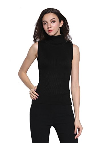 Sofishie Sleeveless Ribbed Turtle Neck Sweater Tunic - Black - XL