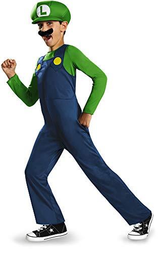 Boys Super Mario Costume (Nintendo Super Mario Brothers Luigi Classic Boys Costume,)