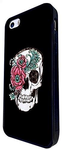 1516 - Cool Fun Trendy Cute Floral Skull Tattoo Biker Sugar Skull Design iphone SE - 2016 Coque Fashion Trend Case Coque Protection Cover plastique et métal - Noir