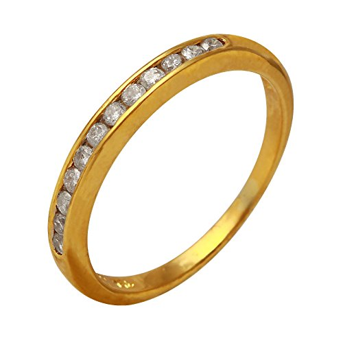 0.12 Carat Natural Diamond 18K Yellow Gold Wedding Band for Women Size (0.12 Ct Natural)