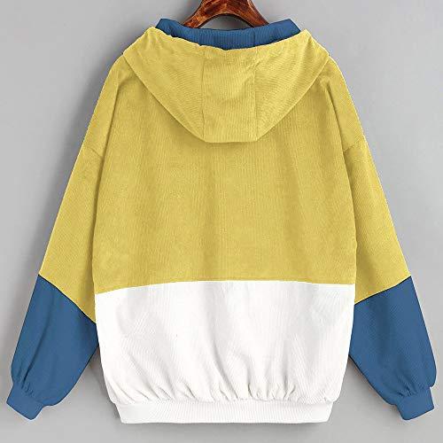 Rompevientos Pana Patchwork Chaqueta Logobeing Abrigo Extragrande Amarillo Manga Larga de Mujer Abrigo Mujer de de Chaquetas 8P8gvq6