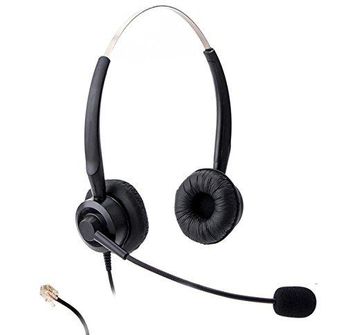 Audicom Corded Call Center Headset Headphone with Mic for Avaya 1416 2420 5410 Aastra 6757i Mitel 5330 NEC Aspire DT300 DSX ShoreTel IP230 Polycom 335 and VVX310 400 Telephone IP Phones(H201STA) ()