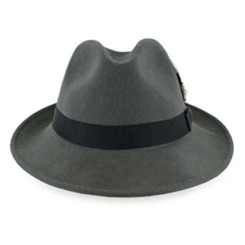 Belfry Bogart 100% Wool Men's Dress Fedora in 5 Colors (Large, Grey W. Black)]()