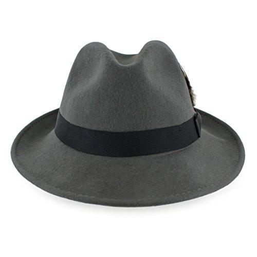 (Belfry Bogart 100% Wool Men's Dress Fedora in 5 Colors (Large, Grey W. Black))