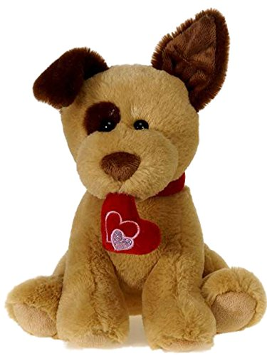 Dog Valentine Toys : Fiesta toy valentine puppy dog with heart ″ brown