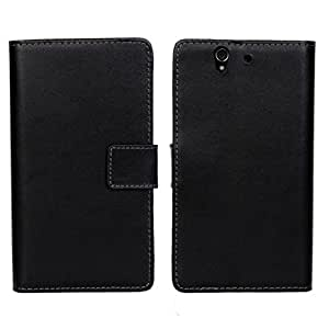 HAINENT [Negro] New Multi-Function Flip Wallet PU de Cuero Funda Carcasa Soporte Stand con Tarjeta de Crédito Slots For Sony Xperia Z1 L39h