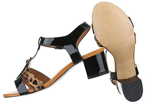 Damen Sandalen Schuhe Sommerschuhe Strandschuhe T-spange Schwarz Braun Weiß 36 37 38 39 40 41 Schwarz