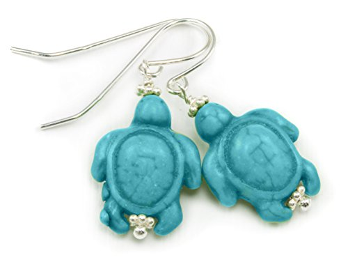 Sterling Silver Turtle Earrings Blue Simulated Turquoise Color Dangle Drop (Sterling Turtle Earrings Turquoise Silver)