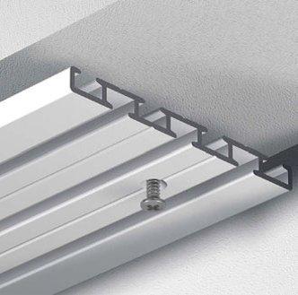 Dekoline Gardinenschiene Vorhangschiene, Aluminium, eckig, alle Längen, glänzende Oberfläche, 3-läufig oder 4-läufig (Wendeschiene), vorgebohrt 4-Lauf - 1,60 m