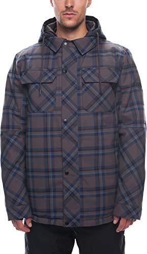 686 Woodland Insulated Snowboard Jacket Charcoal Yarn Dye Plaid Mens Sz XL